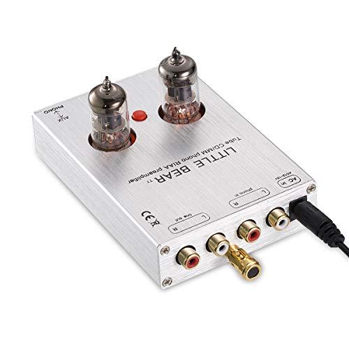 Nobsound Little Bear T7 6J1 vacuümbuis Mini Phono Stage Preamp; RIAA MM platenspeler voorversterker; Hi-Fi stereo tube voorversterker (zilver)