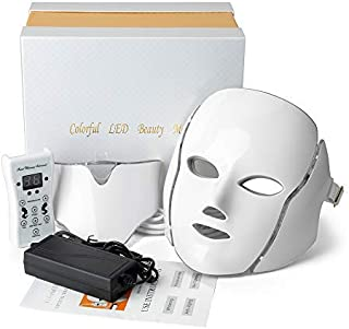 Valentine Beauty Light Face Device For Neck and Face │7 Color L E D Lights │Photon Light Machine for Skin Care│Anti Aging, Skin Firming Kit
