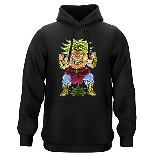 Okiwoki Sweat-Shirt à Capuche Noir Parodie Dragon Ball Z - DBZ - Broly Le Guerrier millénaire - Super Caca Vol.3 - Le Caca Millénaire (Sweatshirt de qualité Premium de Taille XXL - imprimé en France)