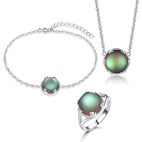 CHXISHOP Juego de joyería de Plata de Ley 925 Bosque de la Piedra Luna de Las Mujeres Personalizada Elegante Anillo, Pulsera, Collar, joyería de Tres Piezas Green