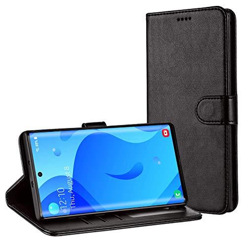TAMOWA Handyhülle für Samsung Galaxy Note 10 Plus/Note 10+ Hülle, Leder Flip Handyhülle Schutzhülle Tasche für Samsung Galaxy Note 10 Plus/Note 10+ (Kartenfach,Standfunktion,Magnetverschluss),Schwarz