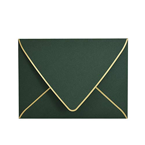 A7 Green Envelopes with Gold Border 5 x 7 - V Flap, Quick Self Seal, for 5x7 Cards  Perfect for Weddings, Invitations, Photos, Graduation, Baby Shower (Green)