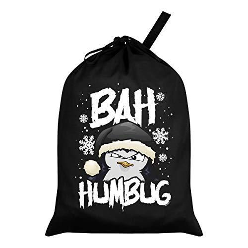 Psycho Penguin Bah Humbug - Saco de Navidad, Color Negro