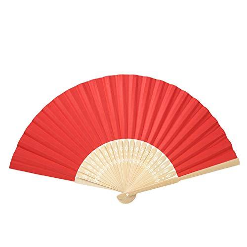 Ventaglio di bambù pieghevole, vari colori Ventaglio cinese di costine di bambù pieghevole Ventaglio di carta bianca fai-da-te Decorazioni per feste di matrimonio(Rosso)