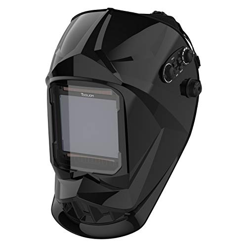 "TOOLIOM Large Viewing 3.94""X3.67"" Welding Helmet Auto Darkening 4 Arc Sensor for TIG MIG ARC Plasma Cut"