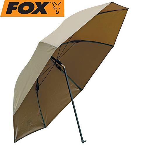 Fox Khaki Brolly 45' Angelschirm, Schirm zum Karpfenangeln & Friedfischangeln, Sonnenschirm & Regenschutz für Angler, Anglerschirm