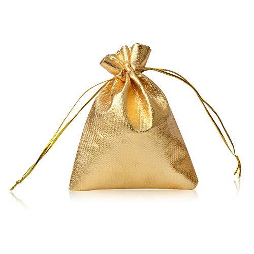 CLTPY 100 Pezzi Sacchetti Regalo Coulisse Sacchetto Borse Gioielli per Bomboniera della Festa Natale Festa di Matrimonio 10x15cm/3,9x5,9in (Oro)