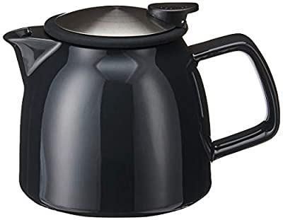 FORLIFE Bell Ceramic Teapot with Basket Infuser, 26-Ounce/770ml, Black Graphite