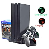 Multifunctional PS4 Dual Charger Cooling Bracket with 2 Cooling Fans, LED Charging Indicator, 3 USB Ports and 12 Game Memories, Suitable for PS4/PS4SLIM/PS4PRO