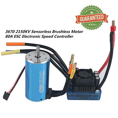 RCRunning 3670 2150KV 5mm 4P Sensorless Brushless Motor with 80A Brushless ESC Combo for 1/8...