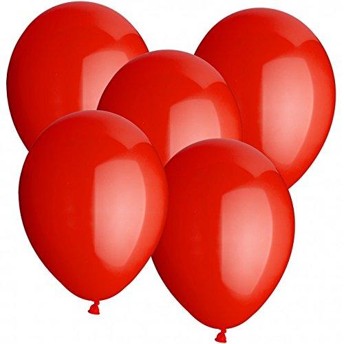 doriantrade.de 100 Luftballons Ø 30 cm Farbe frei wählbar Ballons Helium Luftballon (Rot)