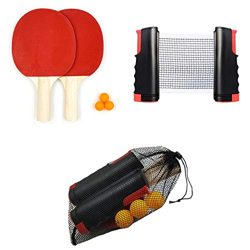 Best Price Table Tennis Racket Set 2 Rackets 3 Balls Portable Table Tennis Racket Telescopic Grid Set