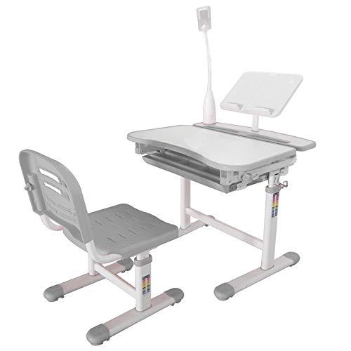 Ubbie Kids Desk and Chair Set,Height Adjustable Children Study Desk with Tilt Desktop & Metal Hook & LED Light & Bookstand and Storage Drawer for Boys Girls Grey