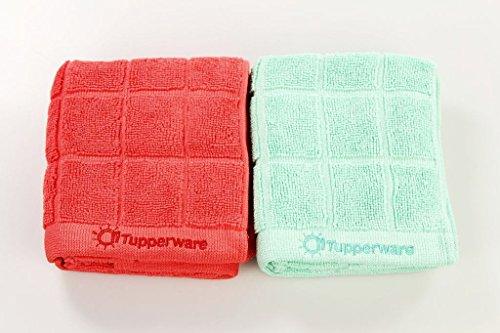 TUPPERWARE FaserPro Küche türkis + rot Mikrofasertuch T23 Abtrocknen Geschirr