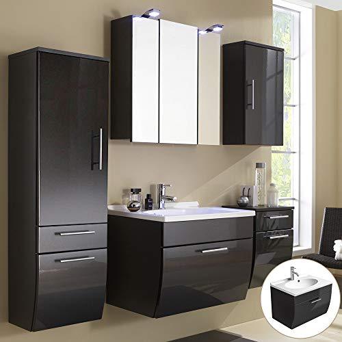 Badmöbel Komplett Set 5-teilig, Hochglanz Anthrazit, Badezimmer Komplettset: Spiegelschrank, Waschtisch mit Unterschrank, Hochschrank, Hängeschrank, Unterschrank