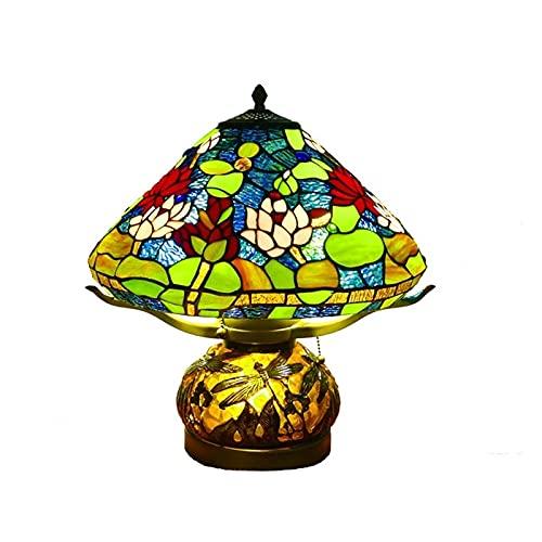 KLDDE Vintage Tiffany Lámparas de Mesa, lámpara de Mesa de Estilo Tiffany, lámparas de Mesa de Cristal de Rosa, lámparas de Mesa de Base de Resina para el Dormitorio del Hotel Iluminación Regalo