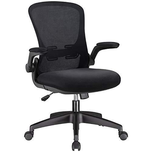 Victone Office Chair Ergonomic Desk Chair Computer Task Mesh Chair High Back Swivel Rolling Chair with Lumbar Support and Flip-up Armrest, Black