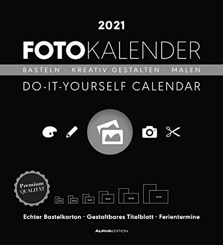 Foto-Bastelkalender schwarz XL 2021 - Do it yourself calendar 45x49,5 cm - datiert - Kreativkalender - Foto-Kalender - Alpha Edition