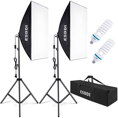 ESDDI Softbox Fotografico Illuminazione Kit 2x 50x 70cm, 2x 85W Lampadine con Continua Luce 5500K Fotografia, 2 treppiede, 1 Borsa portatile, Luci Fotografiche