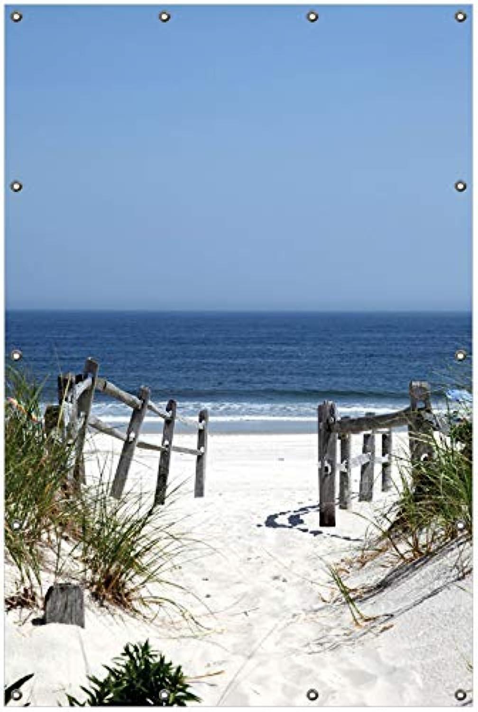 Wallario Garten-Poster Outdoor-Poster, Blick auf Strand in Premiumqualitt, für den Aueneinsatz geeignet
