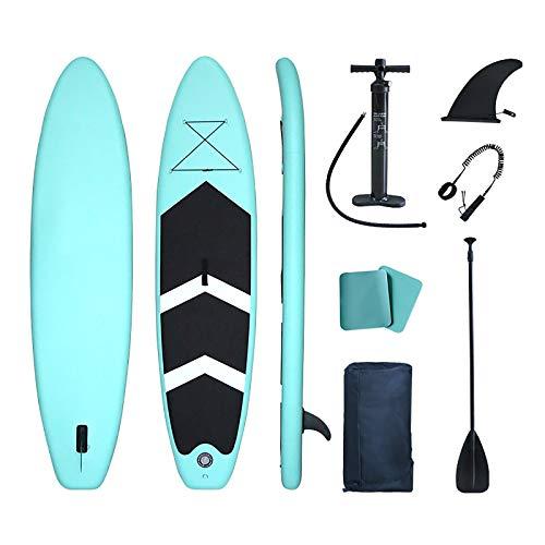 GSYNXYYA Tabla de Sup Inflable, Kit de Tabla de Surf Verde Sup para Adultos para Principiantes, Tabla de Remo de PVC portátil Inflable de pie (3.2/3.8/4.2m),Verde,3.2m