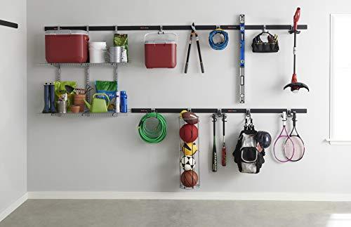"Rubbermaid FastTrack 48"", 2 Pack Rail Kit, Black, Easy Installation for Garage Organization System"