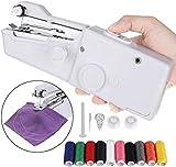 Fabur Mini Máquina de Coser Portátil Herramienta Manual Portátil con 10 Piezas Hilos de Coser de Colores, Herramienta de Puntada Rápida para Tela, Ropa o Tela de Niños