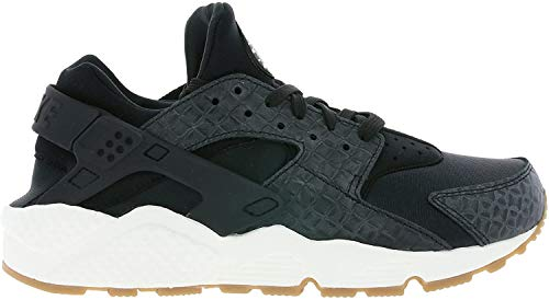 NIKE Air Huarache Run Premium W Zapatillas Moda Mujeres Black/Black-Sail-Gum Med Brown Zapatillas Bajas