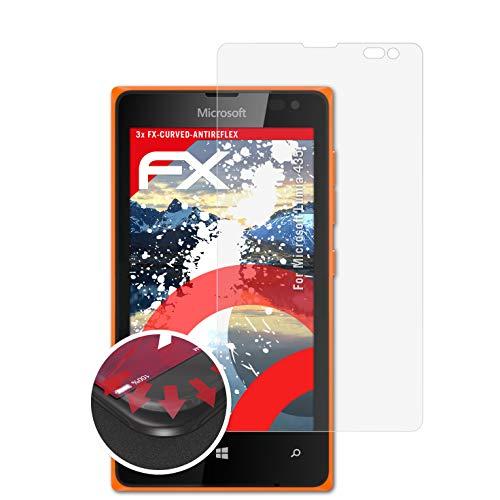 atFolix Schutzfolie kompatibel mit Microsoft Lumia 435 Folie, entspiegelnde & Flexible FX Bildschirmschutzfolie (3X)