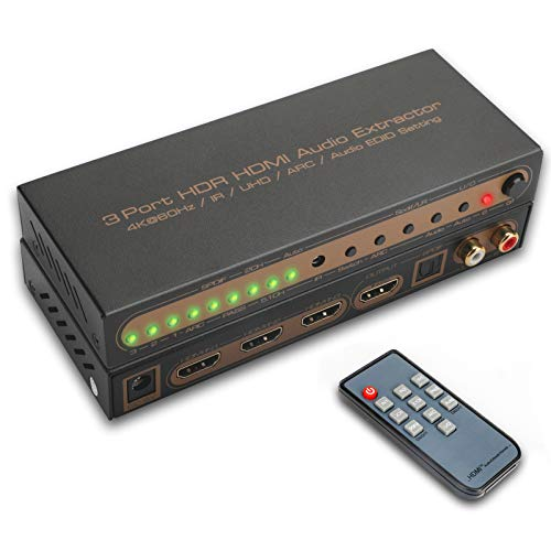 HDMI Audio Extractor REEXBON HDMI Audio Estrattore 3 In 1 Out Audio Switcher HDMI 4K IR Automatico 3D UHD HDR Toslink Coassiale LPCM2.0 AC3 HDCP2.2 per Xbox one PS4 PS3 Blu-Ray Firestick HDTV Apple TV