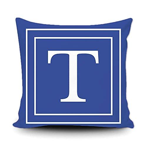 Funda de almohada azul con monograma de letras blancas y rayas del alfabeto inglés inicial decorativa cuadrada funda de cojín para cama, sofá de 50,8 x 50,8 cm, impresión de doble cara