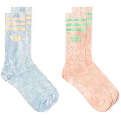 adidas Originals Paquete de 2 calcetines Tie Dye Ambient Sky Ambient Blush, azul claro, L