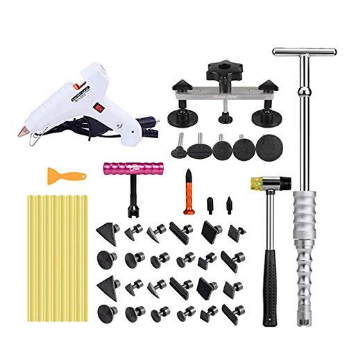 Auto Sag Repair Tools, Autos, Waschmaschinen, Kühlschrank Oberfläche versunken Repair Kit 46 PCS, mit T-Felgen für Fahrzeug Dellen Abzieher, Gummihämmer etc.