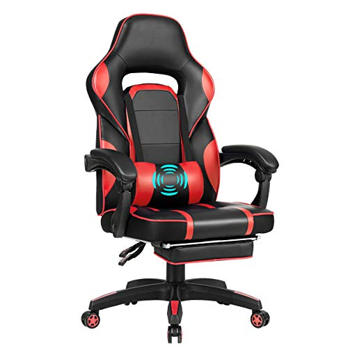 Giantex Massage Gaming Chair, Massage Lumbar Cushion and Retractable Footrest Racing Style Ergonomic High Back Office Chair, Adjustable Back Angle and Armrest Executive Computer Chair (Red)