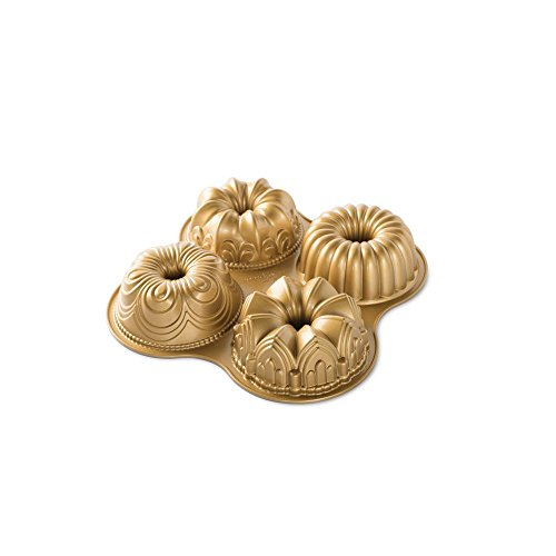 Nordic Ware Bundt Quartet Pan quotL x 1238ampquotW x 247ampQuoth Gold