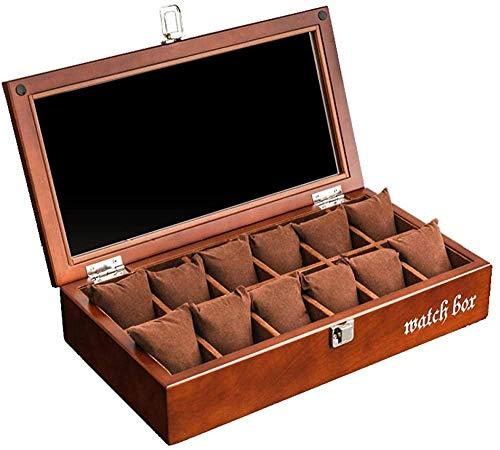 T.T-Q Caja de reloj de madera de 8 dígitos Cajas para relojes caja de reloj retro con techo corredizo caja de presentación de reloj caja de pulsera de joyería caja de almacenamiento 37*19,7*7,6 cm