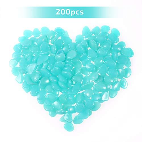 OUNONA 200 st¨¹cke Leuchtsteine. leuchtende Kiesel Fluoreszierende Steine f¨¹r Aquarium Ggarten Hof Dekorationen (blau)