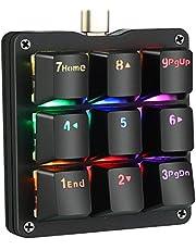 Koolertron片手マクロメカニカルキーボード 9キーフルプログラム可能ゲーミングキーボード カスタマイズ可能小型キーボード RGB LEDバックライト OSUに適用 (赤軸RGB)