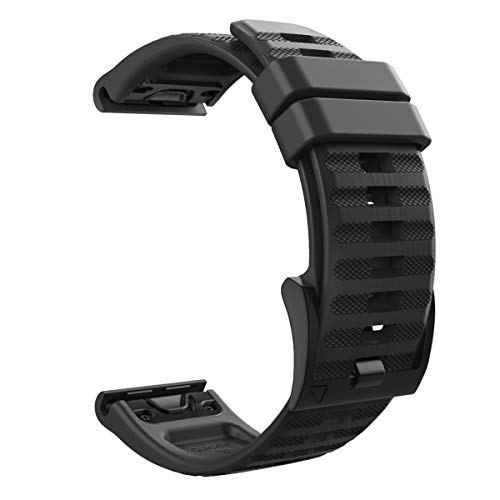 MoKo 22mm Cinturino per Garmin Fenix 5/5 Plus/Fenix 6/6 PRO/Forerunner 935/945/Approach S60/S62/Quatix 5/Garmin Instinct, Quick Fit Braccialetto Morbido di Ricambio in Silicone - Nero