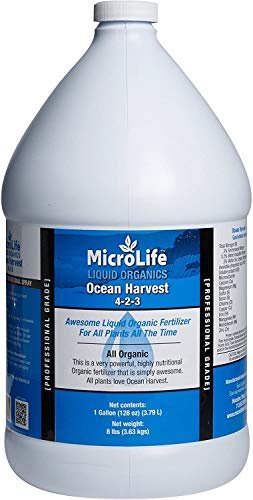MicroLife Ocean Harvest (4-2-3) Professional Grade Organic Liquid Fertilizer Concentrate for All Plants All the Time, 1 Gallon