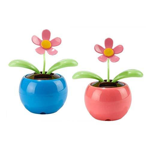 PULABO Flor solar de flor de manzana, 2 unidades, energía solar, diseño de girasol, decoración de coche, solar, elegante y popular, práctica y rentable