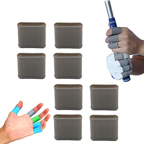 Golf Finger Sleeves Cots Silicone Braces Value 8 Pcs Set Gel Protector Support, Non-Slip Wearproof Reduce Hand Injury for Golfer Basketball Baseball Blowing Gym Sports (Grey)