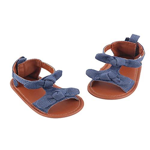 Sandalias planas antideslizantes para el hogar, de verano, de algodón de color sólido con nudo de lazo decorativo, azul marino, 9 mes