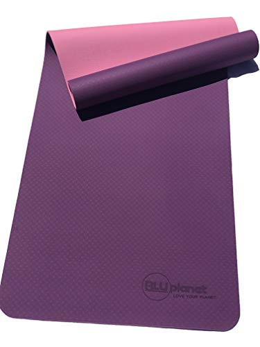 BLUplanet Extra Thick 6mm Non Slip Eco Friendly TPE Yoga Mat (Purple-Pink)