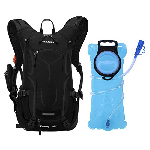 OUTON 18L Cycling Hydration Backpack with 2L Water Bladder, Lightweight Breathable Reflective Hydration Pack Backpack with Rain Cover, Helmet Net for Cycling, Running, Hiking, Skiing (Black)
