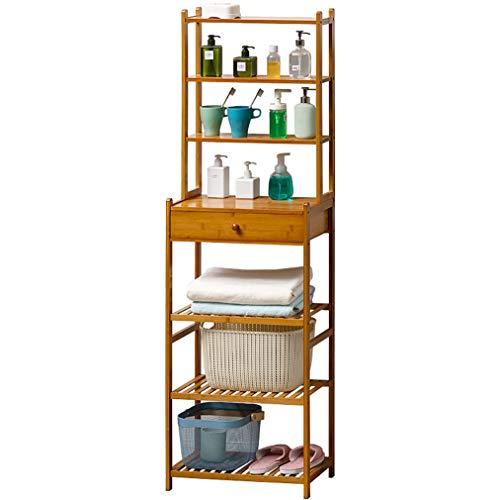 ZLXLX Multi-Tier Di Bambù Bagno Mensola con Cassetto Floor-Standing Scaffalatura Rack Di Stoccaggio, Adatto a Sala Bagno Ufficio fghfdhfghf/B