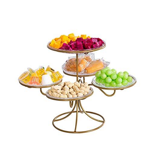 Rangement de bol de corbeille à fruits de comptoir avec 5 assiettes, présentoir décoratif en métal à 2 niveaux pour les réunions de famille Bonbons de pain, fruits secs et autres articles ménagers -