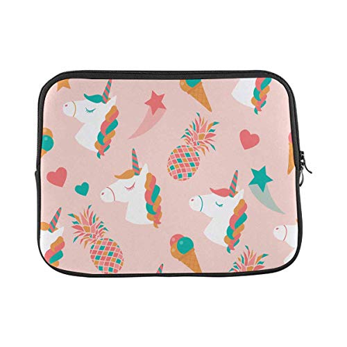 INTERESTPRINT Laptop Case Bag Sleeve Unicorns Heads Pineapples Stars Laptop Protection Cover 14 Inch 14.1 Inch
