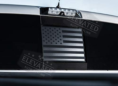 ELEVATED AUTO STYLING - Rear Middle Window American Flag Fits Dodge RAM 2009-2018 (Black)