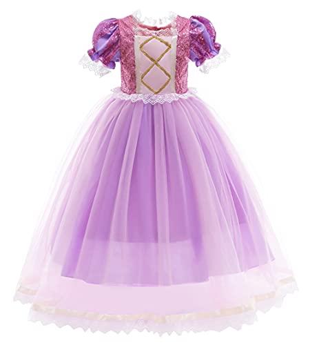 YOSICIL Disfraz de Princesa Rapunzel para Nia con Accesorios Vestido rapunzel con lentejuelas encaje Fiesta Cumpleaos Carnaval Cosplay Halloween 3 -9 aos